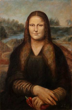 I'm happy and I know it!-Fine Art - after da Vinci - Mona Lisa - Original Oil Painting on Canvas by artist Darko Topalski - artwork figurative gallery