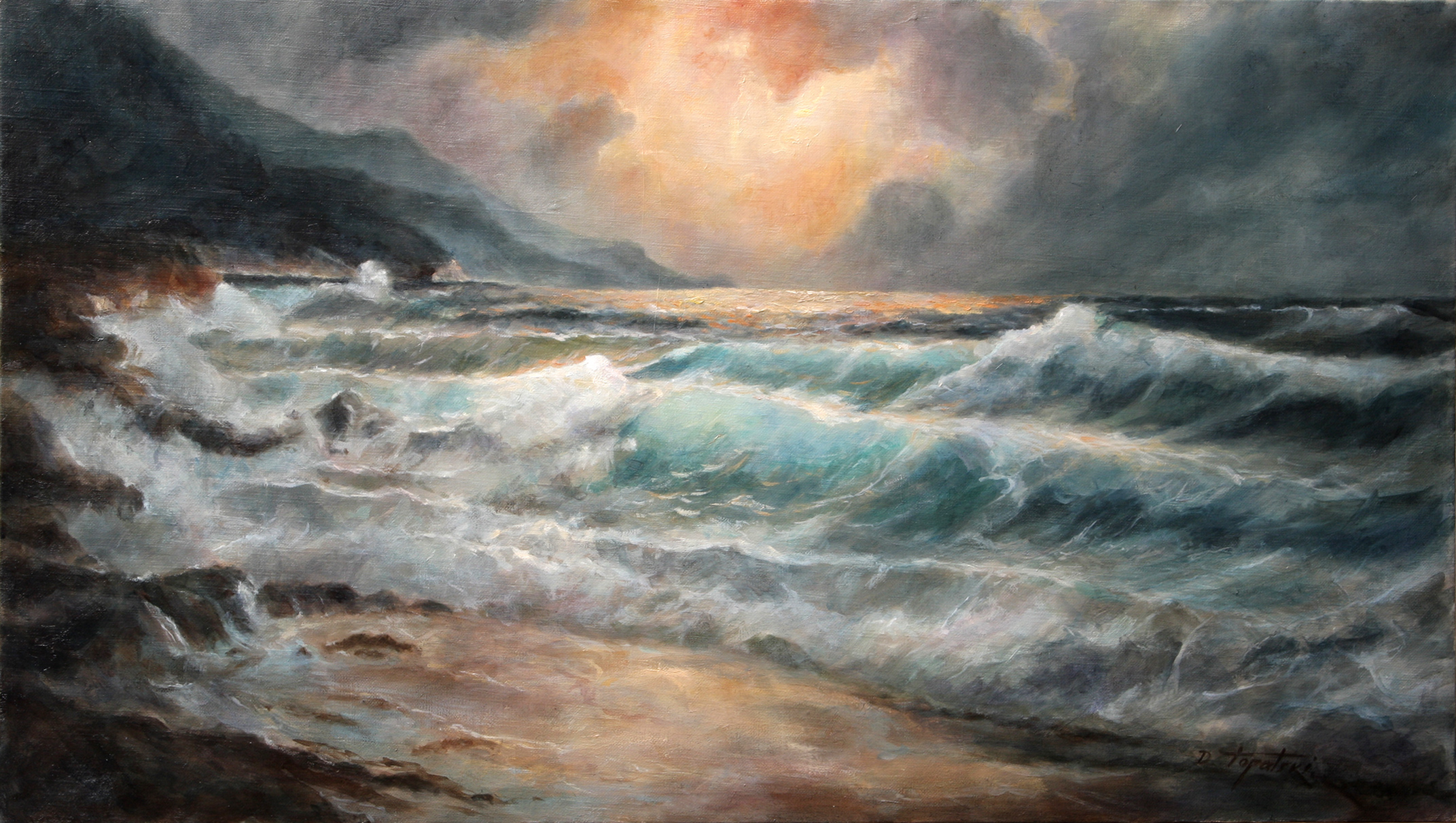 Sea and waves seascape oil painting fine arts gallery for Original fine art paintings for sale