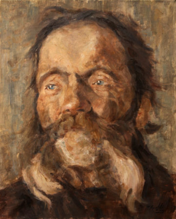 Fine Art - Head of an old man after V. Kovacevic - Original Oil Original Painting artwork on Canvas by artist Darko Topalski gallery arts