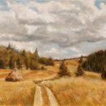 Mountain fields with hay stag – Landscape oil painting