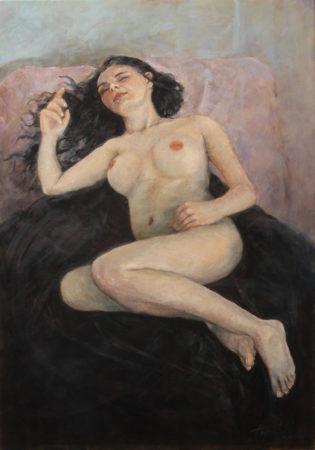 Fine Art - Sleeping Beauty - Nude female akt - Original Figurative Oil Painting on Canvas by artist Darko Topalski