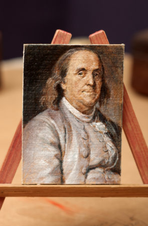 Benjamin Franklin - Fine Art - Original ACEO Oil Painting on canvas board by artist Darko Topalski