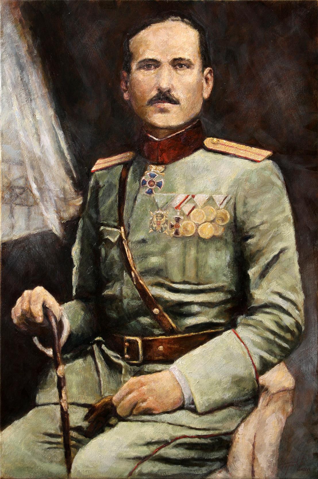 Fine Art -Krsto Zrnov Popovic - Original Portrait Oil Painting on Canvas by artist Darko Topalski