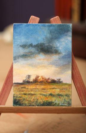Sunny landscape - Fine Art - Original ACEO Oil Painting on canvas board by artist Darko Topalski