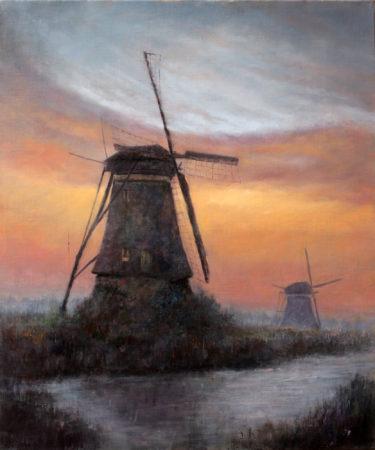 Fine Art -Windmills in Sunset - Original Oil Painting on Canvas by artist Darko Topalski