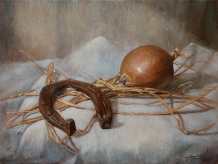Fine Art - Horseshoe and Onion - Original Oil Painting on Canvas by artist Darko Topalski