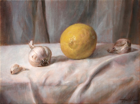 Fine Art - Lemon and Garlic - Healthy Recipe - Original Oil Painting on Canvas by artist Darko Topalski