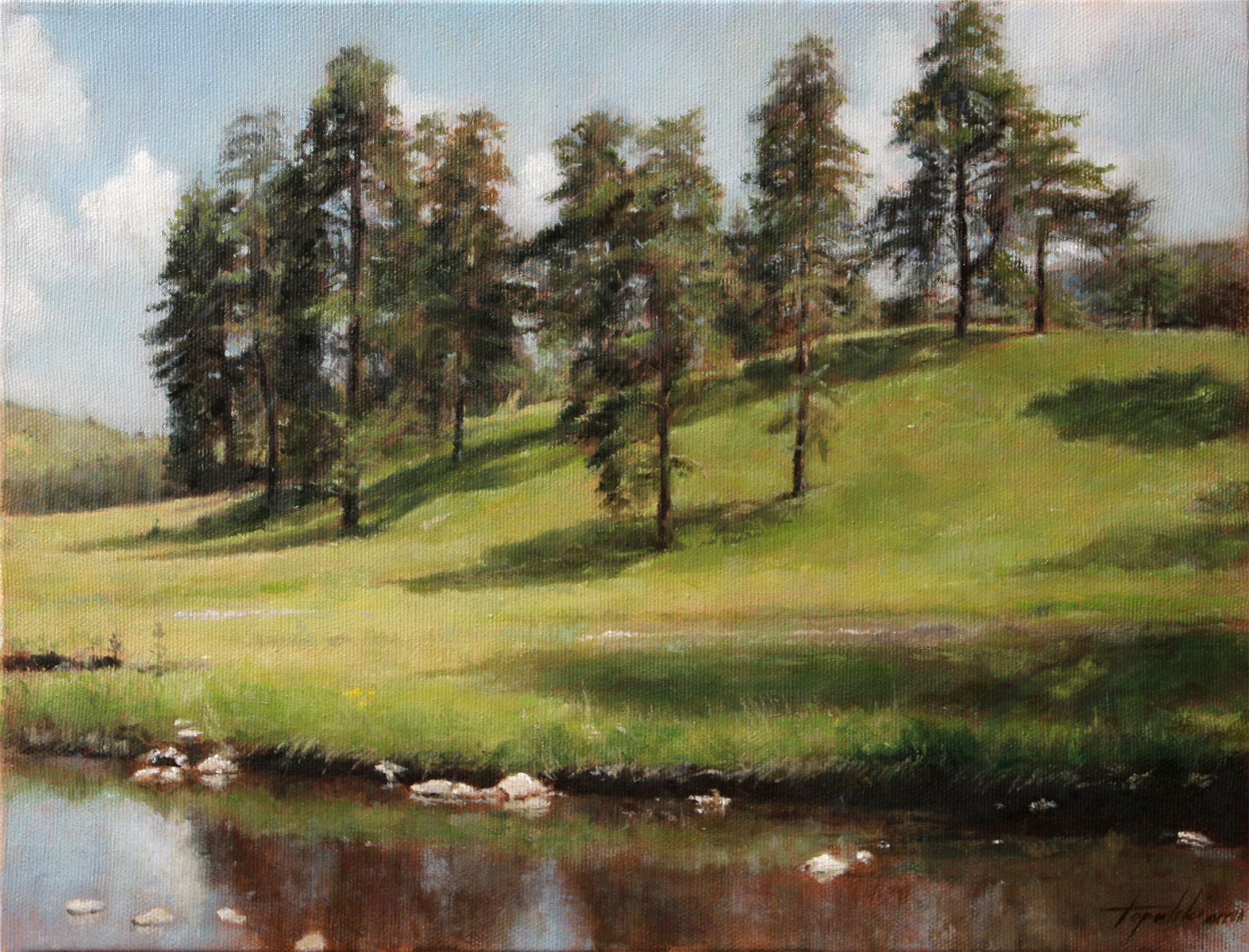 mountain hillside u2013 landscape oil painting - Oil Painting