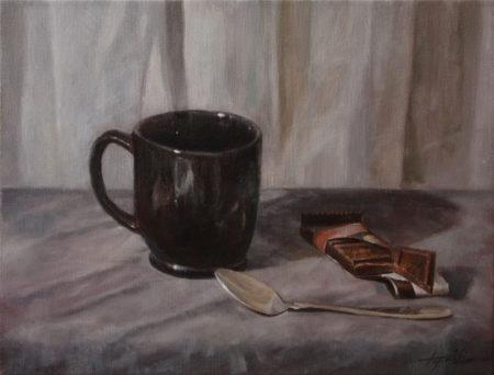 Fine Art - Un Cafe - Original Oil Painting on Canvas by artist Darko Topalski