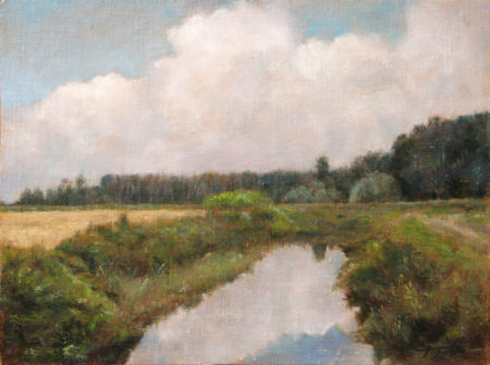 Fine Art - Country Pond - Original Oil Painting on Canvas by artist Darko Topalski