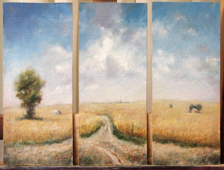 Fine Art - Country Triptych - Original Oil Painting on Canvas by artist Darko Topalski