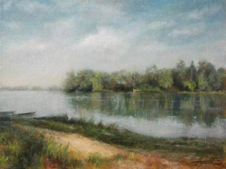 Fine Art - Down the River - Original Oil Painting on Canvas by artist Darko Topalski