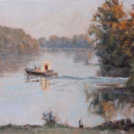 Boat on the River – Landscape Oil painting