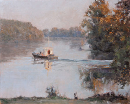 Fine Art - Boat on the River - Original Oil Painting on Canvas by artist Darko Topalski