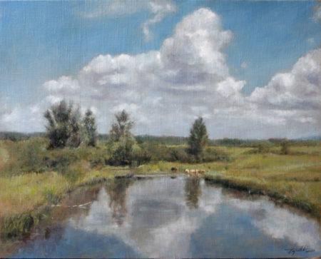 Fine Art - Cattle by the pond - Original Oil Painting on Canvas by artist Darko Topalski