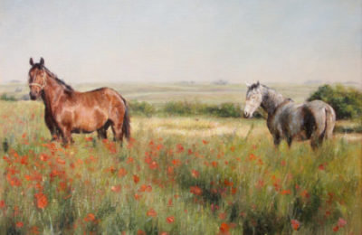 Horses in a Poppy field – Animals in Landscape oil painting