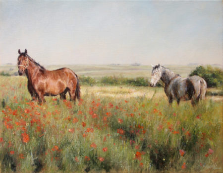 Fine Art - Horses in a Poppy field - Original Oil Painting on Canvas by artist Darko Topalski