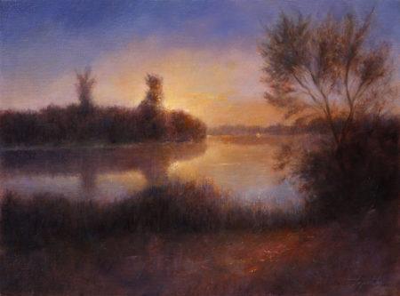 Fine Art - River Sunset - Original Landscape Oil Painting on Canvas by artist Darko Topalski