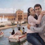 Couple at the Spanish Square in Seville – Commissioned Figurative oil painting