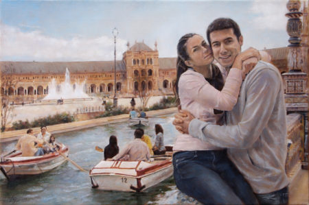 Fine Art - Couple at the Spanish Square in Seville - Original Oil Painting on Canvas by artist Darko Topalski
