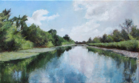 Fine Art - Canal Reflections - Original Oil Painting on Canvas by artist Darko Topalski