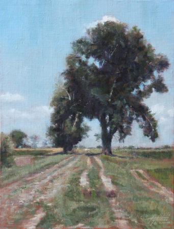Fine Art - The Tree in a Field - Original Oil Painting on Canvas by artist Darko Topalski