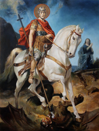 Fine Art - Saint George and the Dragon - Original Religious Oil Painting on Canvas by artist Darko Topalski