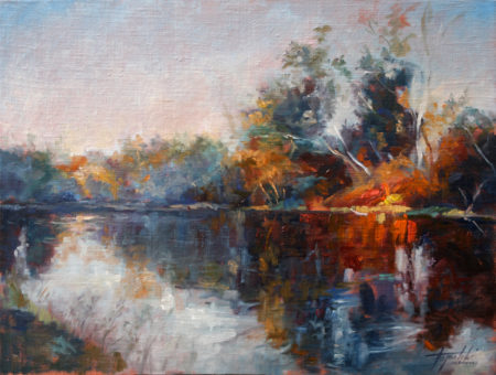 Fine Art - River Reflections - Original Oil Painting on Canvas by artist Darko Topalski