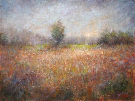 Fine Art - Misty Fields - Original Oil Painting on Canvas by artist Darko Topalski