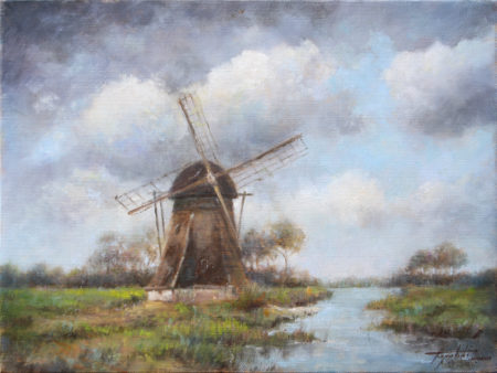 Fine Art - Windmill - Original Oil Painting on Canvas by artist Darko Topalski