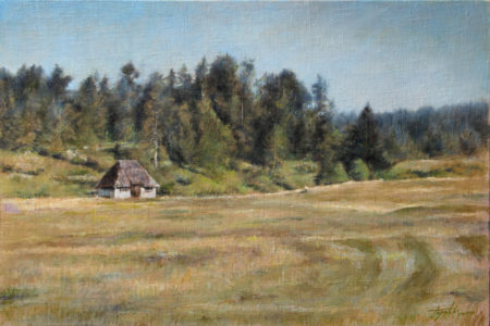 Fine Art - Old mountain cabin - Original Oil Painting on Canvas by artist Darko Topalski