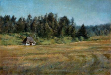 Fine Art - Old mountain cabin - Original Oil Painting on Canvas by artist Darko Topalski