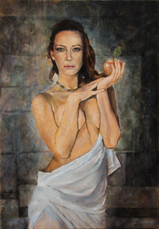 Fine Art - An Apple - Original Figurative Oil Painting on Canvas by artist Darko Topalski