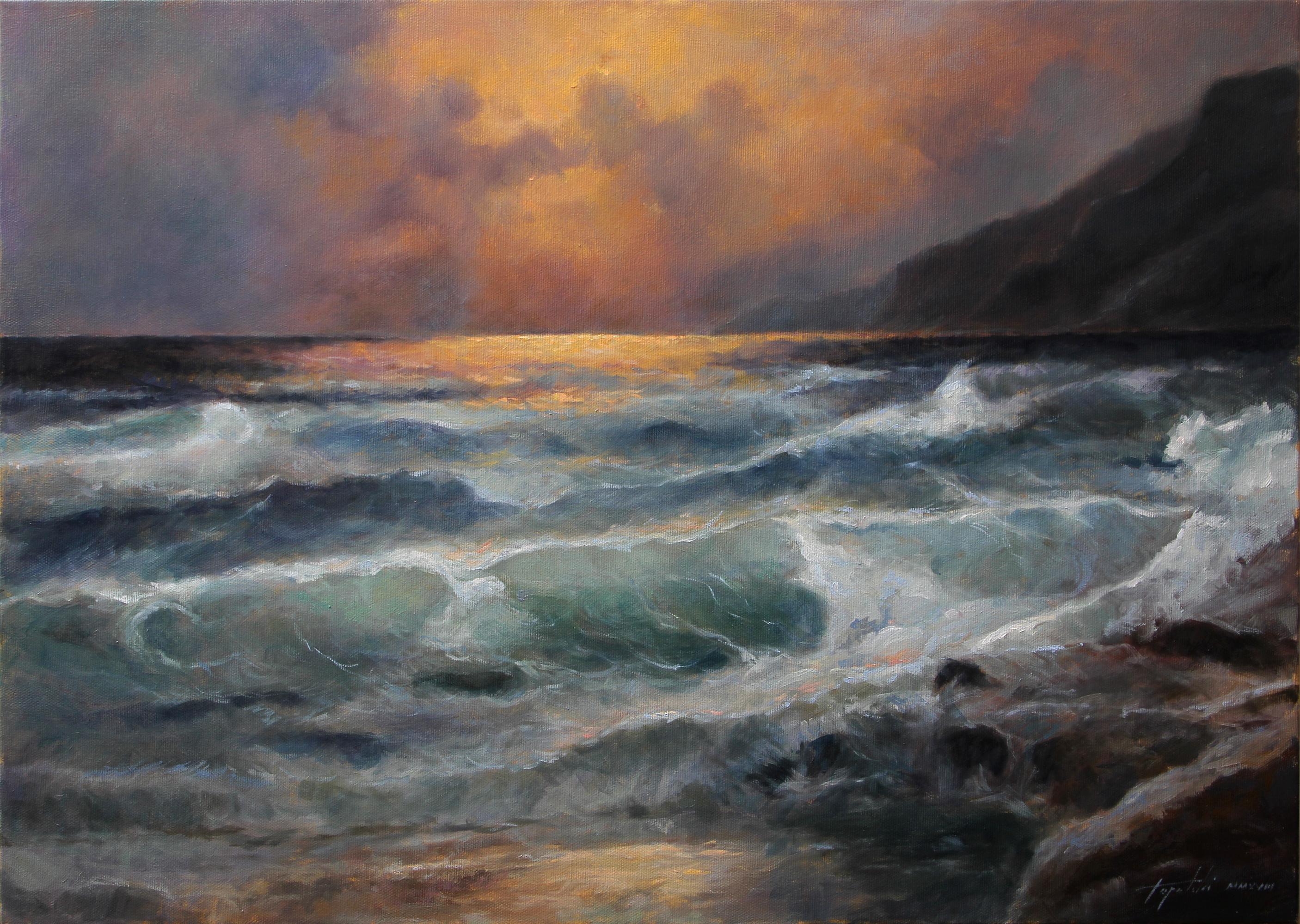 Fine Art By The Coast Seascape Original Oil Painting Artwork On Canvas Artist