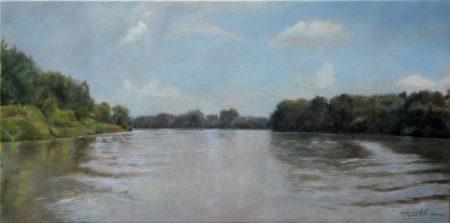 Fine Art - By the River - Landscape Original Oil Painting artwork on Canvas by artist Darko Topalski