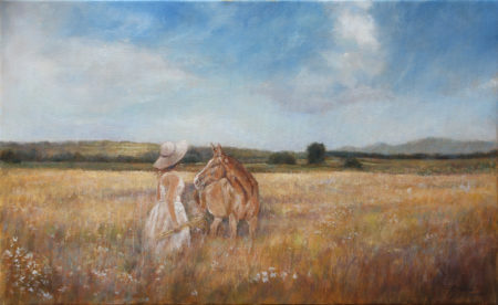 Fine Art - In the field - Landscape figurative equine Original Oil Painting artwork on Canvas by artist Darko Topalski