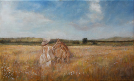 Fine Art - In the field - Landscape figurative equine Original Oil Painting artwork on Canvas by artist Darko Topalski