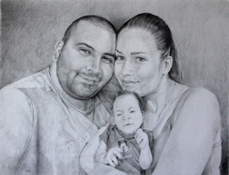 Fine Art - Family Portrait - Original Pencil Drawing on Paper by artist Darko Topalski