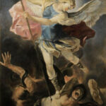 Archangel Michael after Luca fa Presto – Figurative Religious Oil Painting