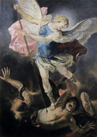 Fine Art - Acrhangel Michael after Luca fa Presto - Original Oil Painting on Canvas by artist Darko Topalski