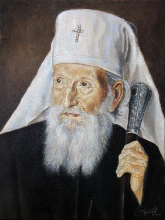 Fine Art - Serbian Patriarch Pavle - Original Portrait Oil Painting on Canvas by artist Darko Topalski
