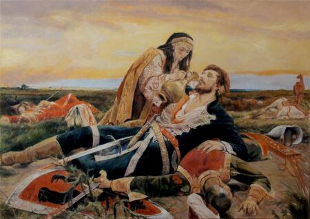 Fine Art - Kosovo Maiden - Original Figurative Oil Painting on Canvas after Uros Predic - by artist Darko Topalski