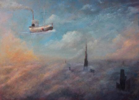 Fisherman - Original Symbolic Landscape Oil Painting on Canvas - by artist Darko Topalski