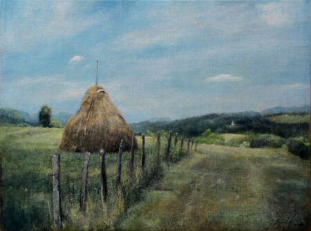Haystack - Original Landscape Oil Painting on Canvas - by artist Darko Topalski
