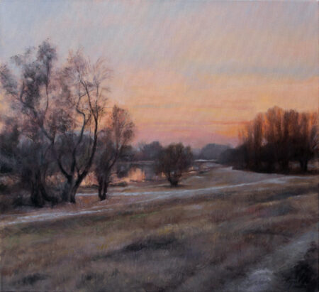 Sunset at the River Pond - Original Landscape Oil Painting on Canvas - by artist Darko Topalski