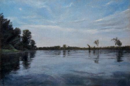 Fine Art - River Tisa - Original Landscape Oil Painting on Canvas by artist Darko Topalski