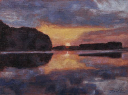 Fine Art - Sunset on the river - Original landscape Oil Painting on Canvas by artist Darko Topalski