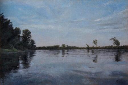 Fine Art - Tisa river - Original landscape Oil Painting on Canvas by artist Darko Topalski