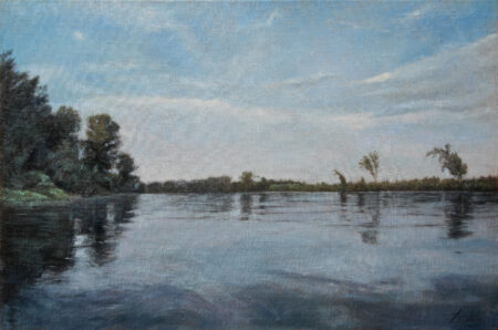 River Tisa - Original Landscape Oil Painting on Canvas - by artist Darko Topalski