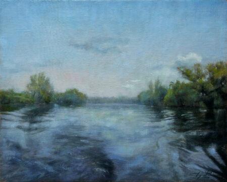 Fine Art - On the River - Original Landscape Oil Painting on Canvas by artist Darko Topalski